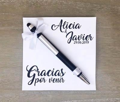 bolígrafo recuerdo de boda